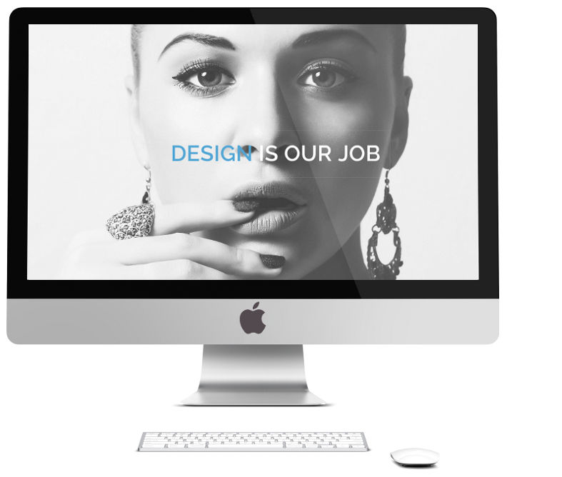 web design is our job - beautiful lady on Mac computer with words over screen